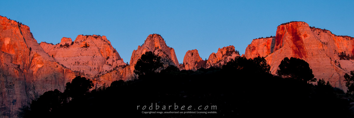Silhouettes at sunrize, Temple of the Virgin, Zion National Park, UT