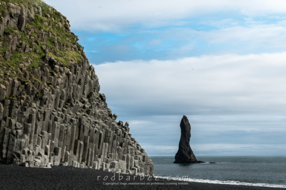 Basalt columns and sea stacks near Vík